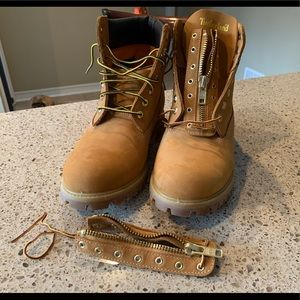 Timberland men's 6-inch wheat zip-up boots size 10